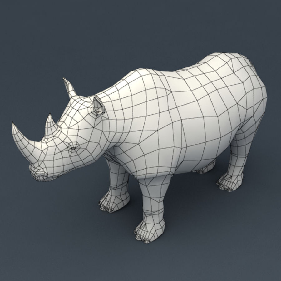 Rhino rigged model royalty-free 3d model - Preview no. 7