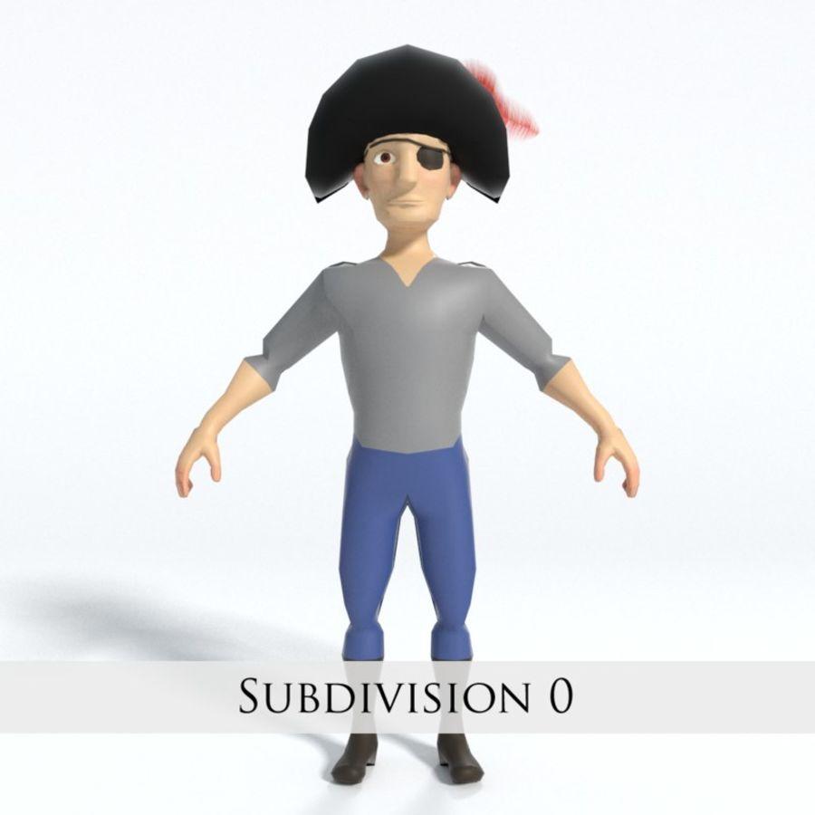 Kreskówka pirat z Eyepatch royalty-free 3d model - Preview no. 5