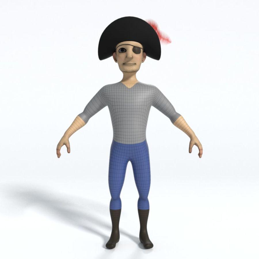 Kreskówka pirat z Eyepatch royalty-free 3d model - Preview no. 6