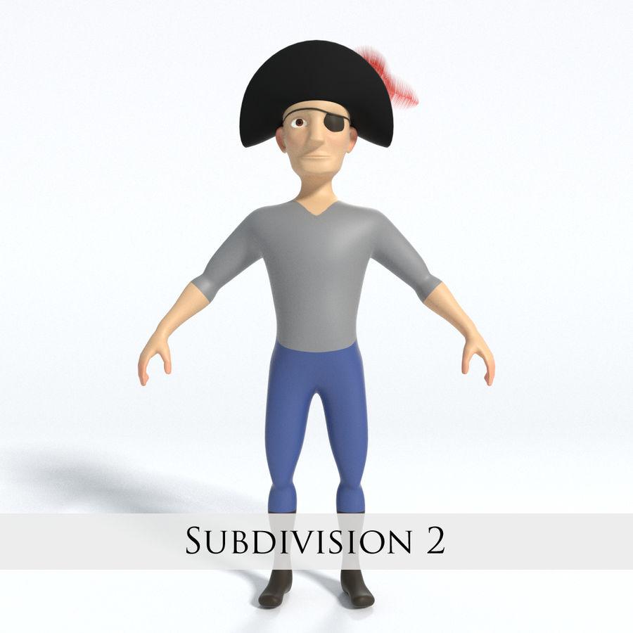 Kreskówka pirat z Eyepatch royalty-free 3d model - Preview no. 4