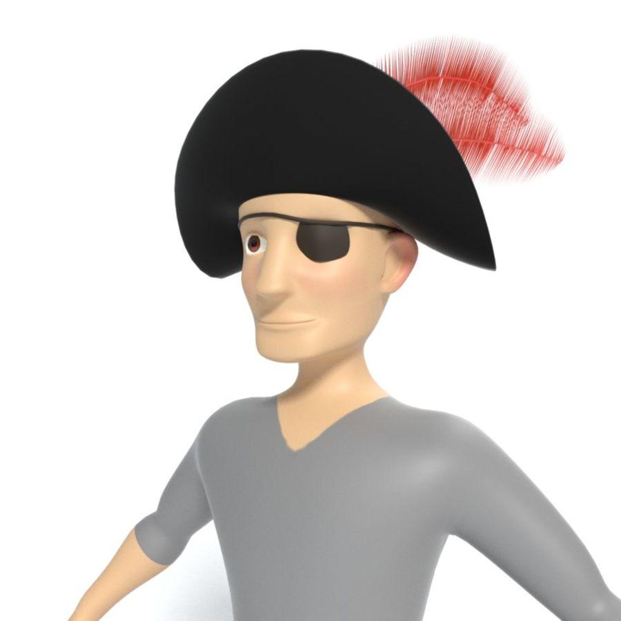 Kreskówka pirat z Eyepatch royalty-free 3d model - Preview no. 3