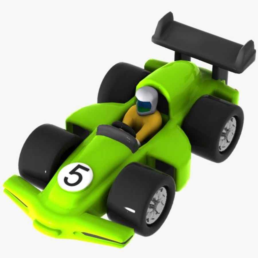 Cartoon Racing Car 2 royalty-free 3d model - Preview no. 9