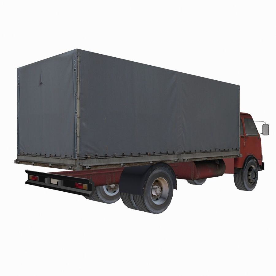 Truck Red royalty-free 3d model - Preview no. 3