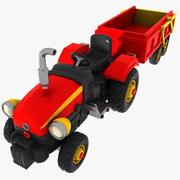 Cartoon Tractor with Cart 3d model
