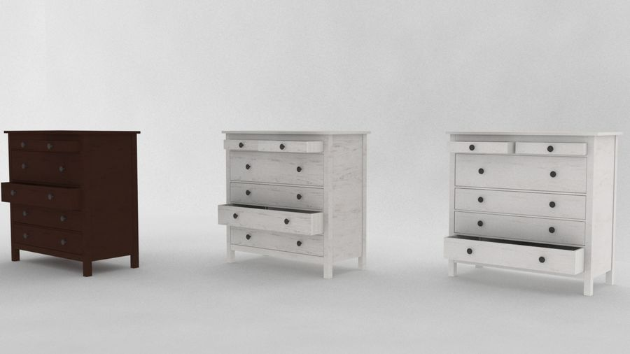 IKEA HEMNES 6 drawer chest royalty-free 3d model - Preview no. 5