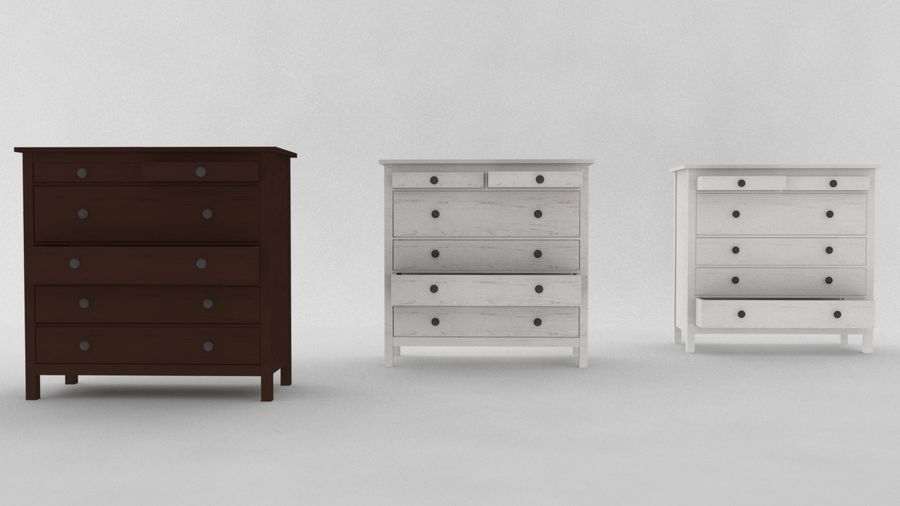 IKEA HEMNES 6 drawer chest royalty-free 3d model - Preview no. 4