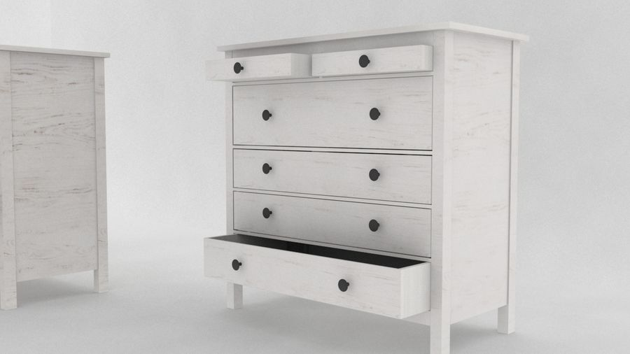 IKEA HEMNES 6 drawer chest royalty-free 3d model - Preview no. 2