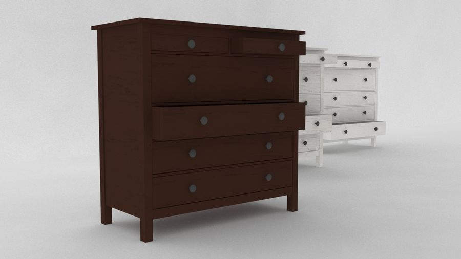 IKEA HEMNES 6 drawer chest royalty-free 3d model - Preview no. 3