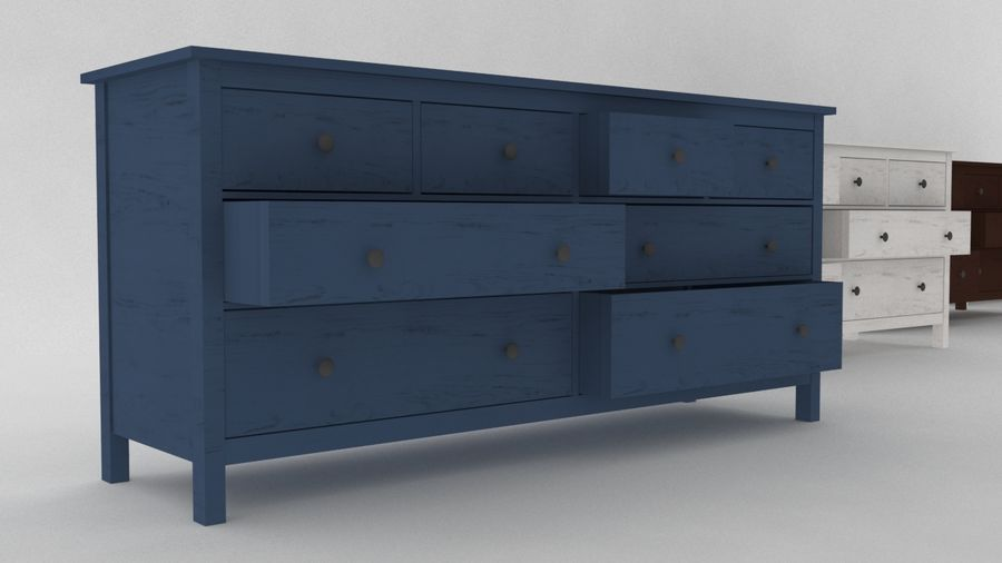 IKEA HEMNES 8 drawer chest royalty-free 3d model - Preview no. 1