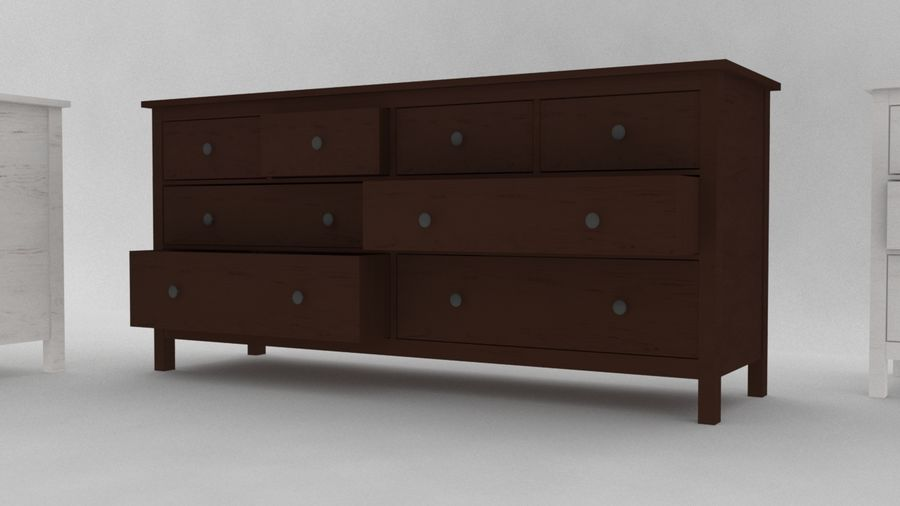 IKEA HEMNES 8 drawer chest royalty-free 3d model - Preview no. 3