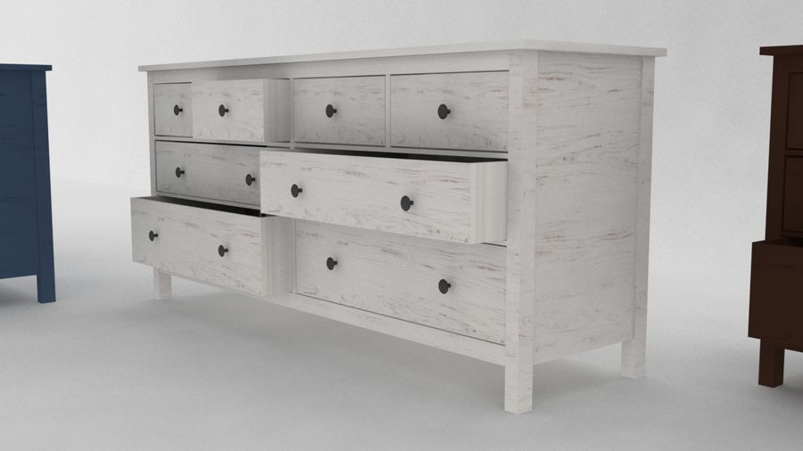 IKEA HEMNES 8 drawer chest royalty-free 3d model - Preview no. 2
