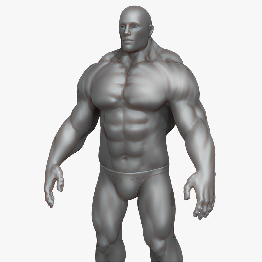 Muscular Man 3 Zbrush Sculpt royalty-free 3d model - Preview no. 4