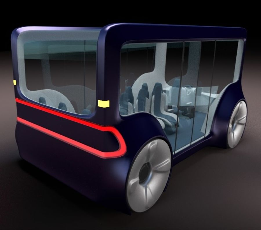Mini bus(concept styled) 1 royalty-free 3d model - Preview no. 3