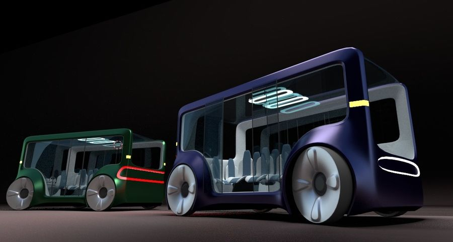 Mini bus(concept styled) 1 royalty-free 3d model - Preview no. 6