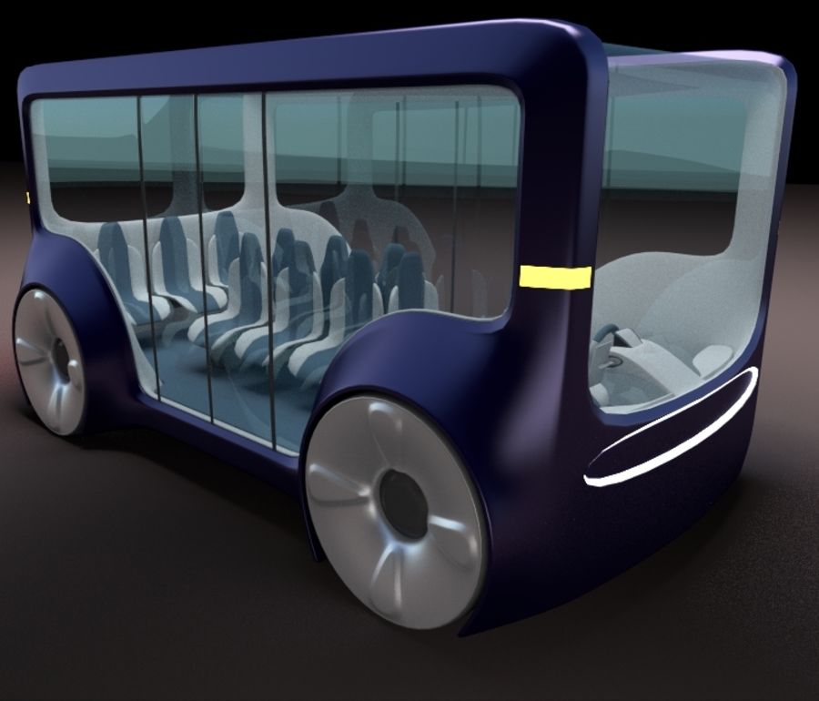 Mini bus(concept styled) 1 royalty-free 3d model - Preview no. 2