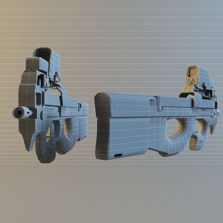 FN P90 royalty-free 3d model - Preview no. 6