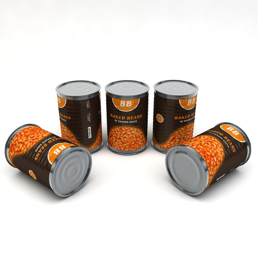 Food Can - Baked Beans royalty-free 3d model - Preview no. 4