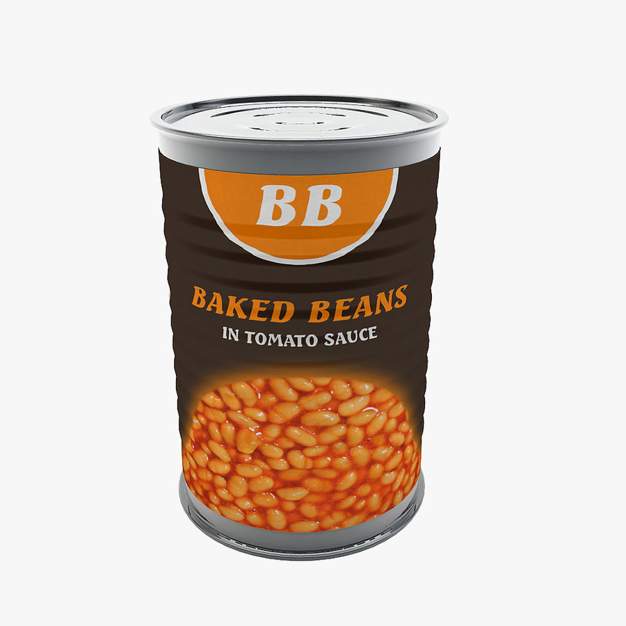 Food Can - Baked Beans royalty-free 3d model - Preview no. 1