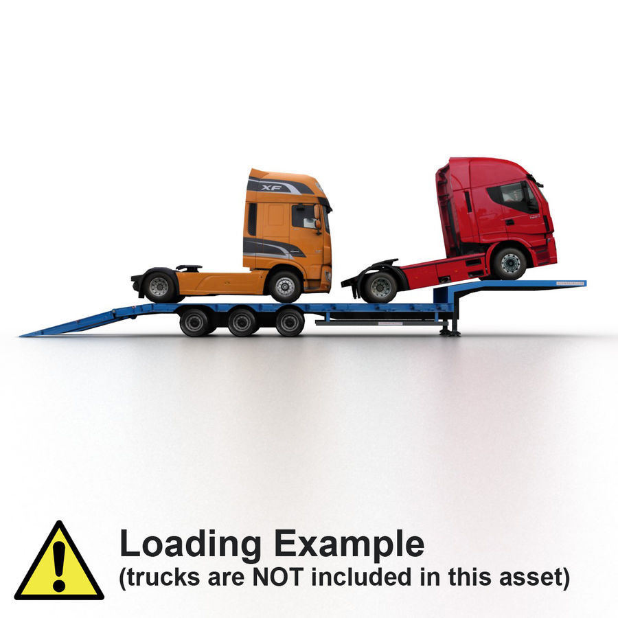 Semitrailer Low Loader royalty-free 3d model - Preview no. 8