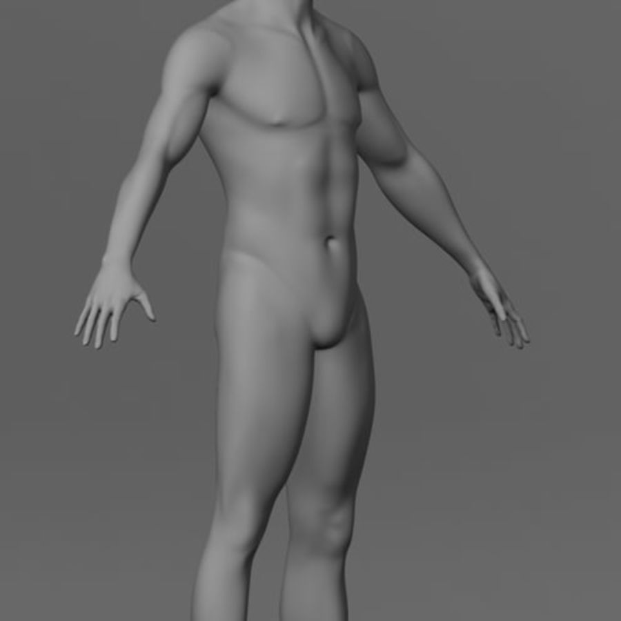 Malha de Base Masculina Humana royalty-free 3d model - Preview no. 3