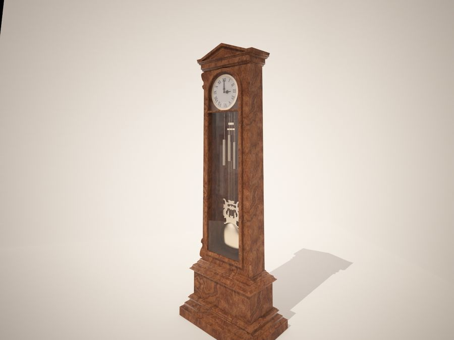 High detailed granfather clock royalty-free 3d model - Preview no. 2