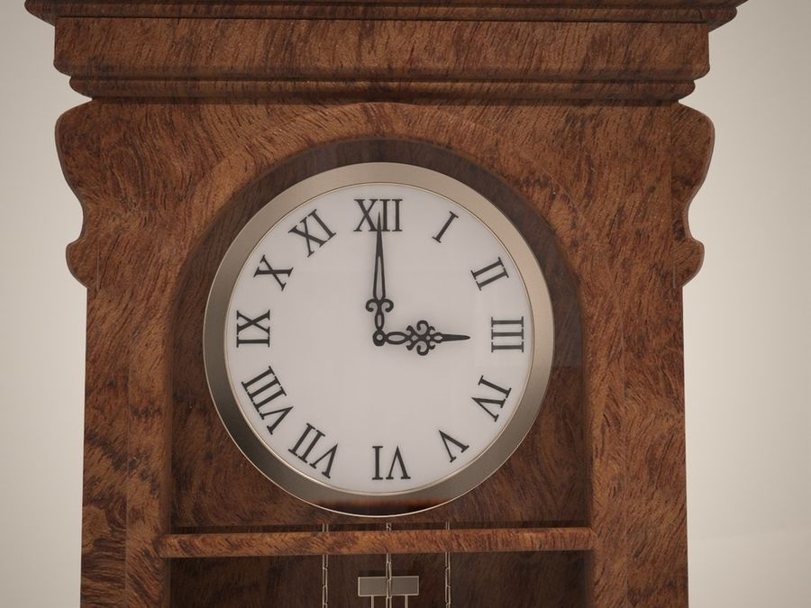 High detailed granfather clock royalty-free 3d model - Preview no. 4