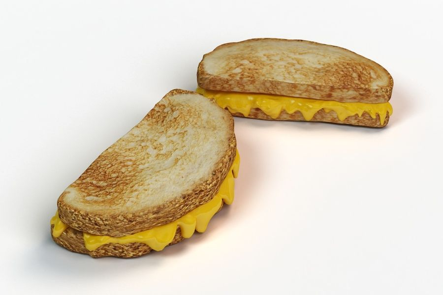 Old-Fashioned Grilled Cheese royalty-free 3d model - Preview no. 2