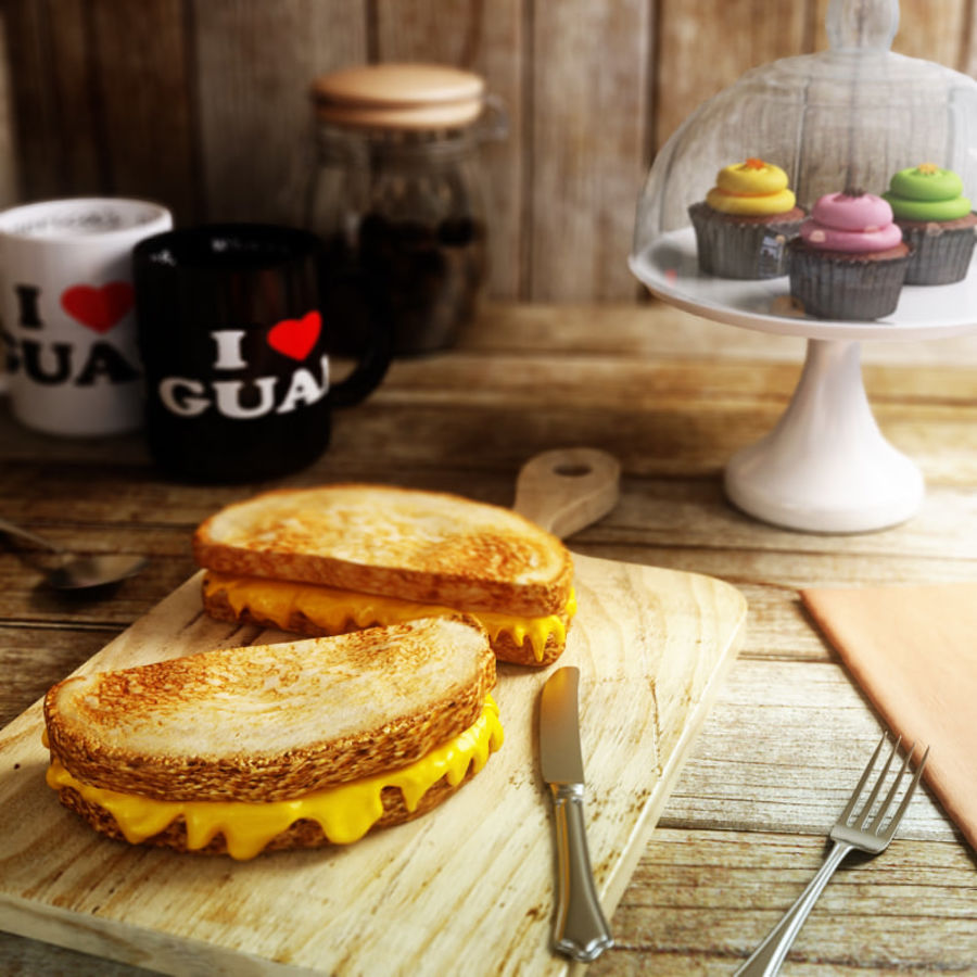 Old-Fashioned Grilled Cheese royalty-free 3d model - Preview no. 1