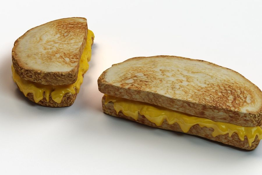 Old-Fashioned Grilled Cheese royalty-free 3d model - Preview no. 6