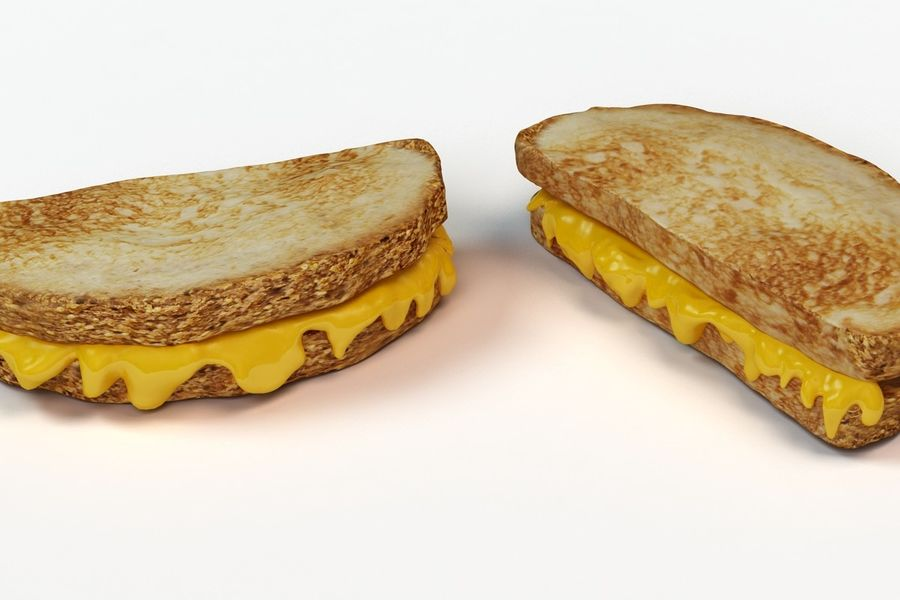 Old-Fashioned Grilled Cheese royalty-free 3d model - Preview no. 5