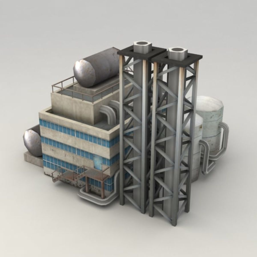 Lowpoly chemical factory royalty-free 3d model - Preview no. 3