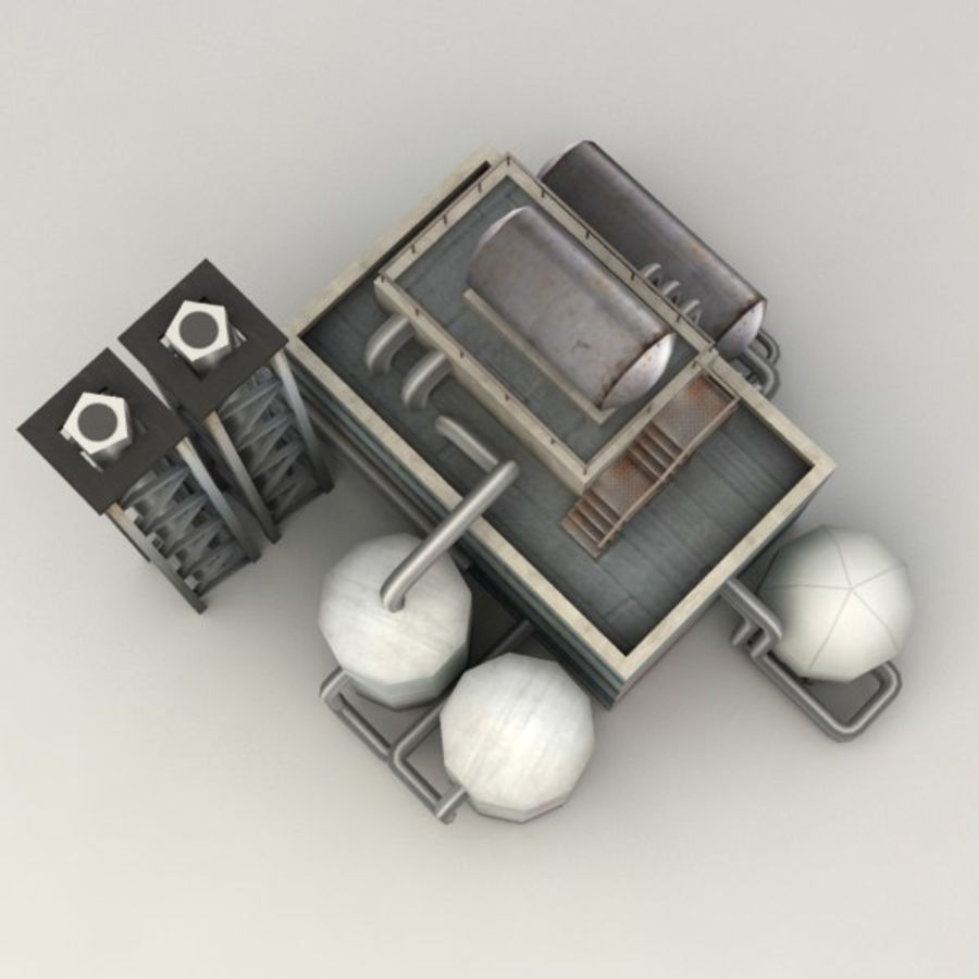 Lowpoly chemical factory royalty-free 3d model - Preview no. 5