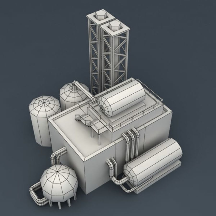Lowpoly chemical factory royalty-free 3d model - Preview no. 9