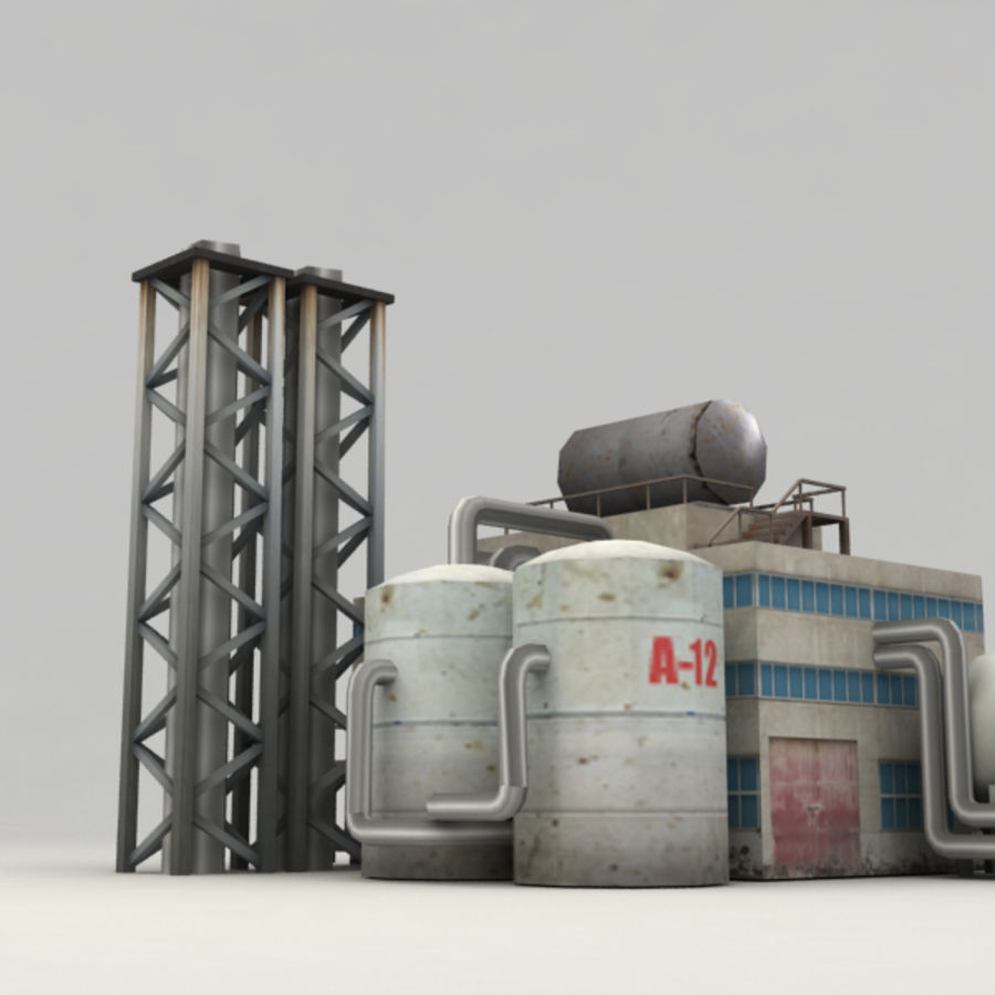 Lowpoly chemical factory royalty-free 3d model - Preview no. 6