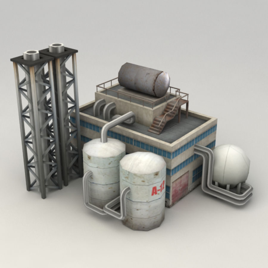 Lowpoly chemical factory royalty-free 3d model - Preview no. 2