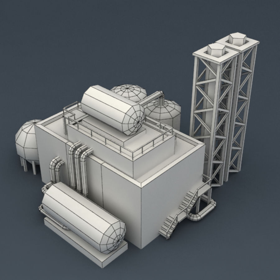Lowpoly chemical factory royalty-free 3d model - Preview no. 8