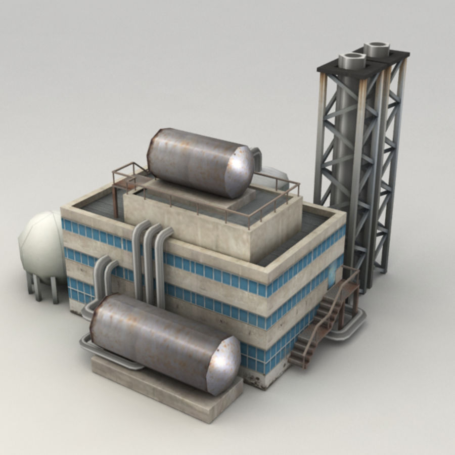 Lowpoly chemical factory royalty-free 3d model - Preview no. 4