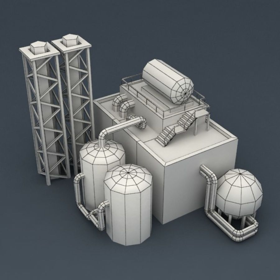 Lowpoly chemical factory royalty-free 3d model - Preview no. 7