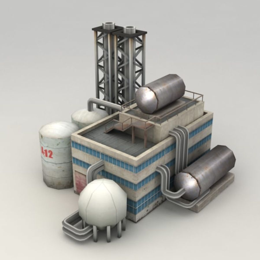 Lowpoly chemical factory royalty-free 3d model - Preview no. 1