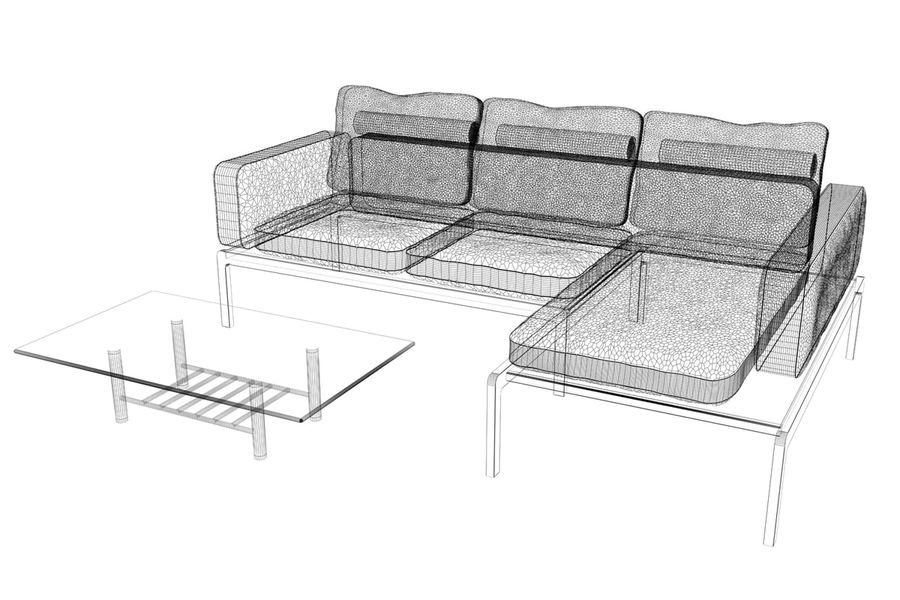 sofa and table (02) royalty-free 3d model - Preview no. 8