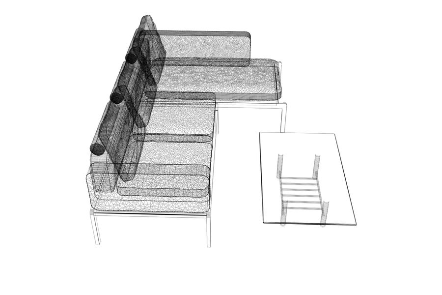 sofa and table (02) royalty-free 3d model - Preview no. 11