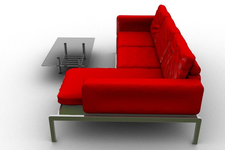sofa and table (02) royalty-free 3d model - Preview no. 6
