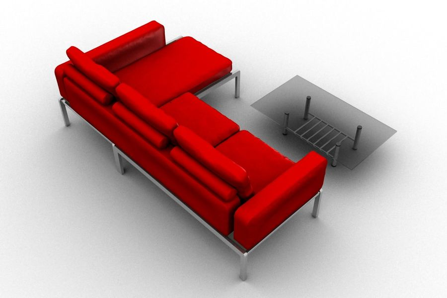 sofa and table (02) royalty-free 3d model - Preview no. 4