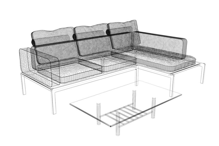 sofa and table (02) royalty-free 3d model - Preview no. 7