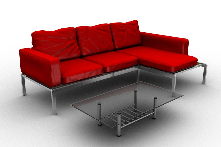 sofa and table (02) royalty-free 3d model - Preview no. 1