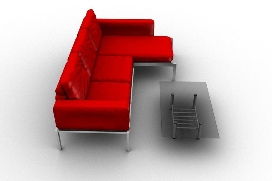 sofa and table (02) royalty-free 3d model - Preview no. 5