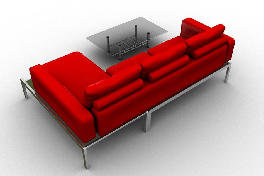 sofa and table (02) royalty-free 3d model - Preview no. 3