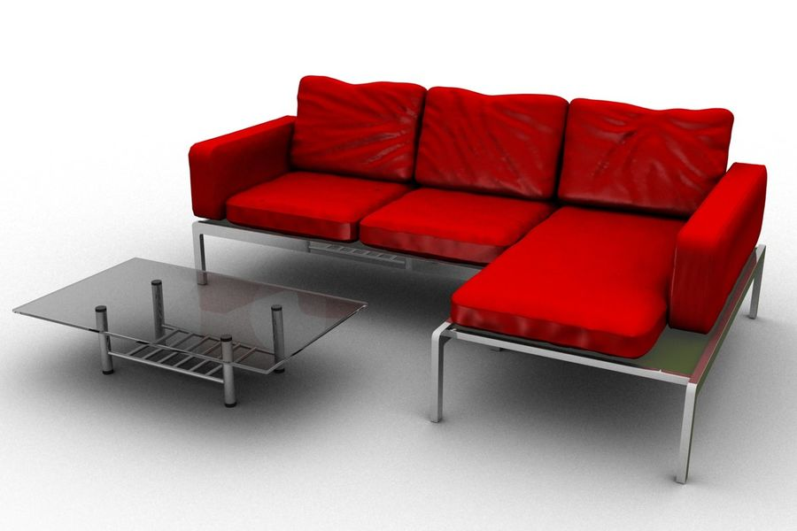 sofa and table (02) royalty-free 3d model - Preview no. 2