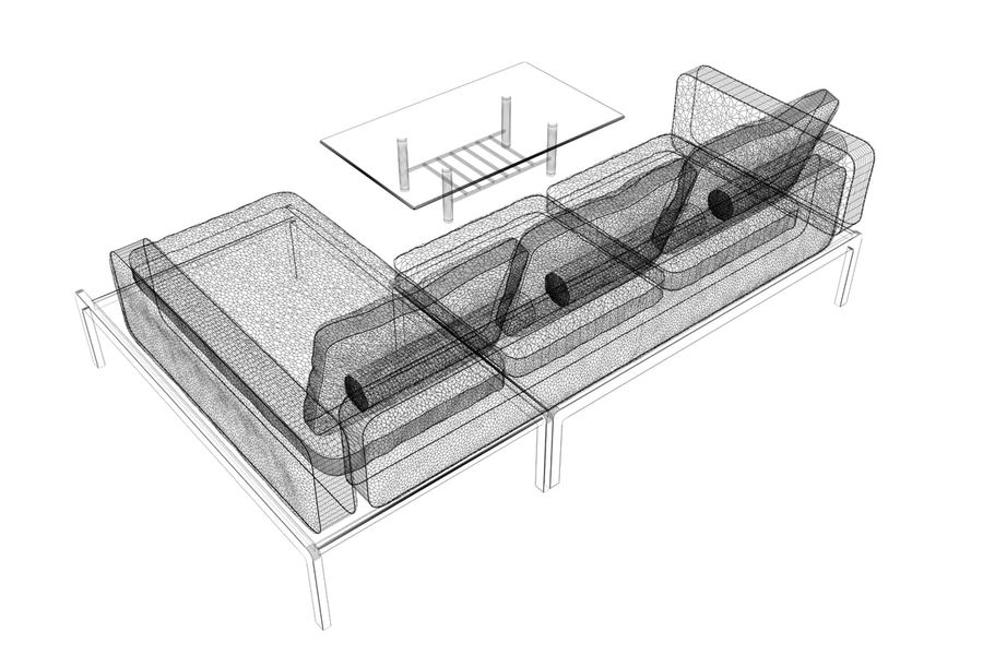 sofa and table (02) royalty-free 3d model - Preview no. 9