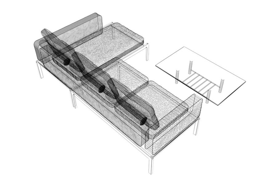 sofa and table (02) royalty-free 3d model - Preview no. 10
